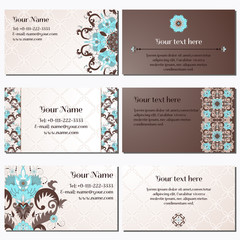 Set of six horizontal business cards. Beautiful floral pattern in vintage style. Simple delicate ornament. Place for your text. Complied with the standard sizes.