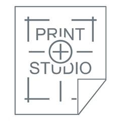 Print studio logo, simple style