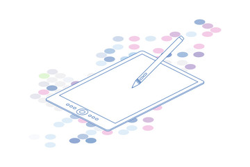 3D Isometric line art graphic tablet on white background. Vector illustration EPS 10
