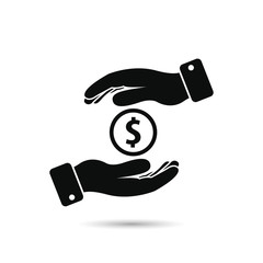 Hands hold money black icon. Saving money vector symbol