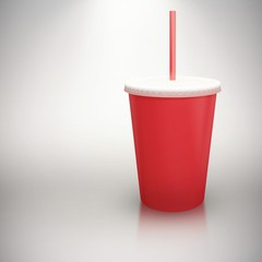 Composite image of red cup over white background