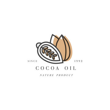 Vector packaging design template and emblem - beauty and cosmetics oil - cocoa