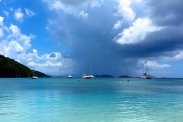 Storm clouds over Maho Bay, St. John, USVI, US Virgin Islands, Caribbean