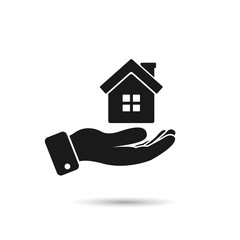 House in hand icon, vector isolated illustration