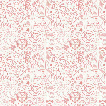 Vector seamless pattern with icon and hand-lettering phrases related to girl power