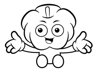 Black And White Pumpkin Mascot is welcome. Halloween Day Isolated Pumpkin Vector Illustration.