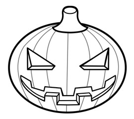 Black and white Halloween Day Pumpkins Illustration. Halloween Day Isolated Pumpkin Vector Illustration.