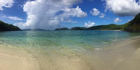 panorama seascape of Jumbie Bay, St. John, USVI, Virgin Islands, Caribbean