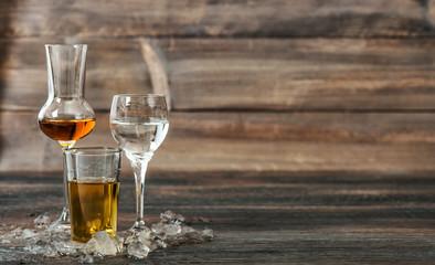 Alcoholic drinks with ice Aperitif whisky liquor vodka