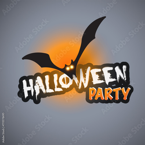 halloween party card template flying bat with glowing eyes