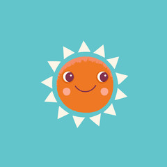 Vector cartoon illustration in simple childish style with sun