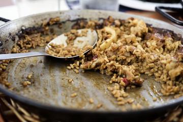 paella pan with some spanish seafood paella