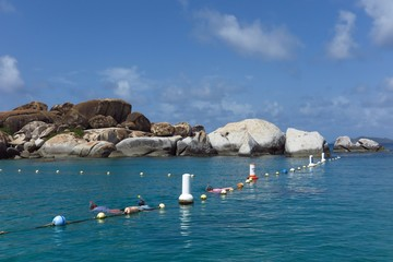 snorkelers at The Baths, Virgin Gorda, British Virgin Islands, Caribbean