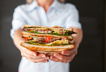Printed roller blinds Snack sandwich in the hands of a girl