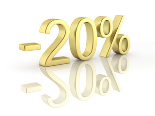 Gold text 20 percent off on white background with reflection 3D render