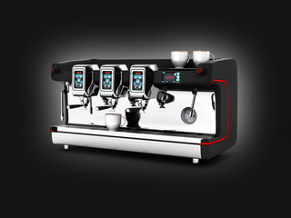 Modern Coffee Machine on black gradient background 3d