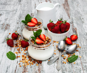 Yogurt and granola for breakfast