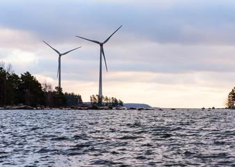 Renewable wind technology: energy turbines near port of Kotka, Finland