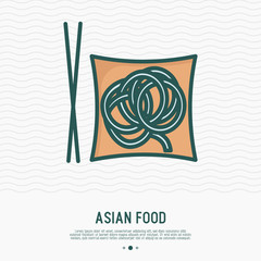 Noodles on plate with chopsticks thin line icon. Simple vector illustration of asian food.