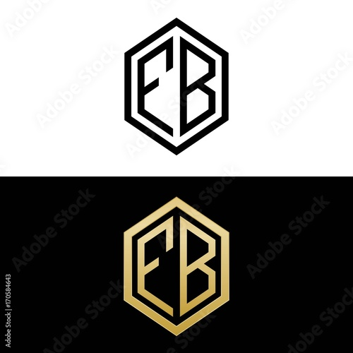 Initial Letters Logo Fb Black And Gold Monogram Hexagon Shape Vector