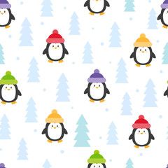 Cute cartoon penguins seamless pattern. Vector winter holiday background.
