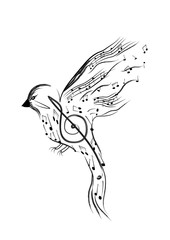 Bird with smaller musical notes isolated on white background. Vector illustration