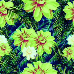 Floral Seamless Pattern; Blue Background