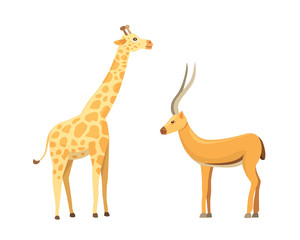 African animals cartoon vector set. Antelope and giraffe.