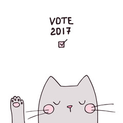 Cute vector voting cat face with paw, hand drawn outlines illustration. Election day poster design