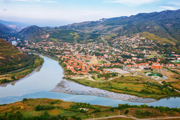 The Top View Of Mtskheta, Georgia, The Old Town Lies At The Confluence Of The Rivers Mtkvari And Aragvi