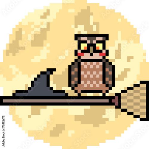 vector pixel art owl halloween