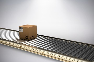Composite image of packed cardboard box on conveyor belt