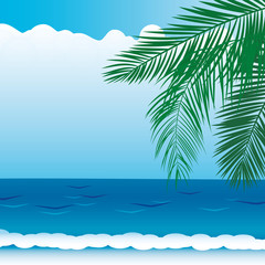 vector background with sea views, branches of palm trees
