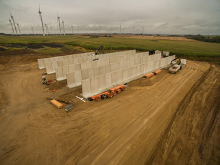 Aerial view of a agricultural silo in construction - silo construction site