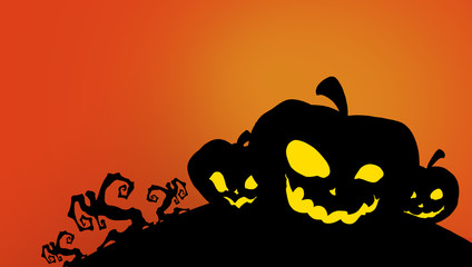 three black carved halloween pumpkin sillhouettes with bright yellow eyes against a orange background, halloween illustration