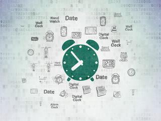 Time concept: Alarm Clock on Digital Data Paper background