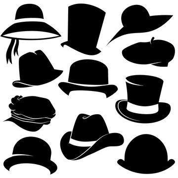 Hat vector icon set.