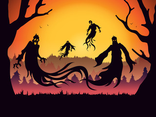 Silhouette of evil spirit flying on forest at full moon night. Illustration about Halloween theme and fantasy.