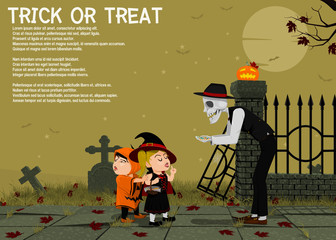 Halloween background,Ghost is giving the children some candy on cemetery background
