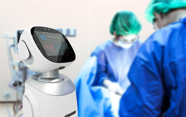 Robotic advisor service technology in healthcare smart hospital , artificial intelligence concept. Surgury Doctors in operating room and robot display status of patient.