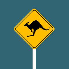 Kangaroo sign isolated on white background. Kangaroo warning sign. Vector stock.