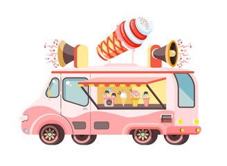 Vector illustration isolated car with refrigeration unit, truck for sale and manufacture ice cream, vanilla, chocolate, popsicles, meals on wheels, street food flat style on white background