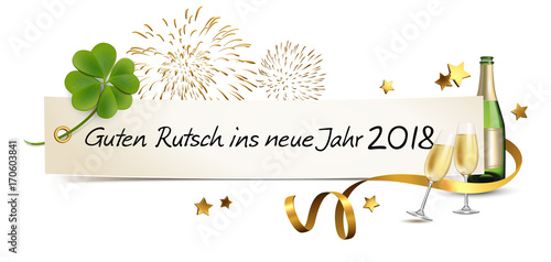 silvester banner mit sekt kleeblatt und feuerwerk. Black Bedroom Furniture Sets. Home Design Ideas
