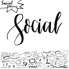 Vector social media word. Lettering for your blog. Hand drawn elements for decoration