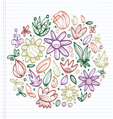 Sheet of notebook with drafts of colorful drawings of leaves and flowers