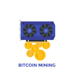 Bitcoin mining vector illustration