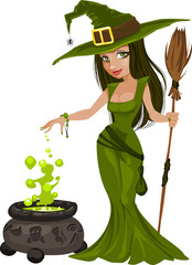witch with broom beautiful girl illustration