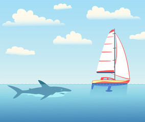 The shark is pursuing the yacht.