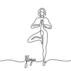 Continuous line drawing. Woman doing exercise in yoga pose. Vector Illustration