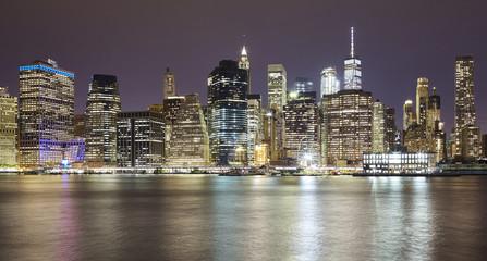 Panoramic picture of Manhattan at night, New York City, USA.